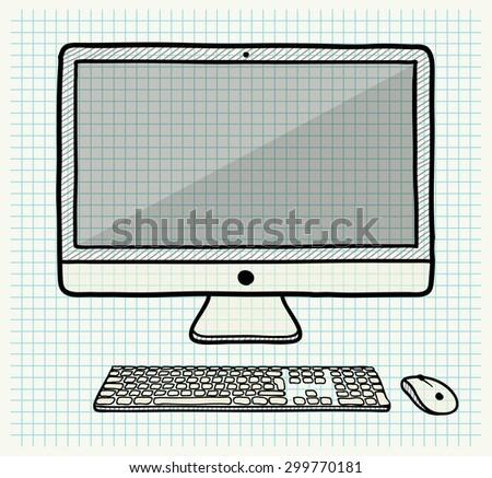 Vector Sketched Computer Set - stock vector