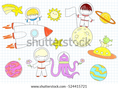 Vector sketches with happy boys and aliens. Sketch on notebook page in doodle style