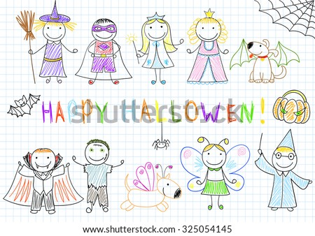 Vector sketches with happy children in Halloween masks. Sketch on notebook page in doodle style - stock vector