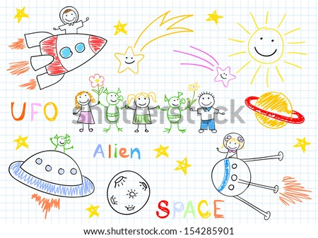 Vector sketches with happy children's and aliens. Sketch on notebook page - stock vector