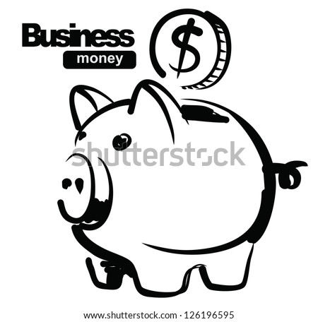 vector sketchy illustration of piggy bank on white - stock vector