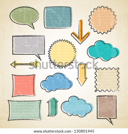 vector sketchy set of notes,arrows,memos etc. - stock vector