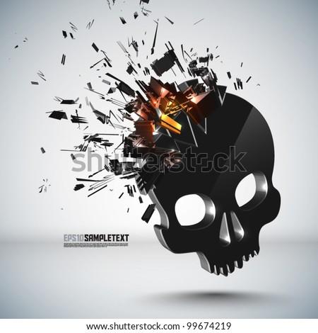 Vector Skull Crushing - stock vector