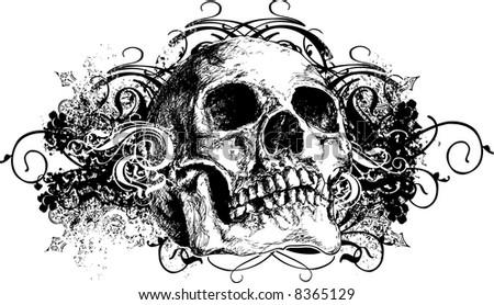 Vector skull floral illustration - stock vector