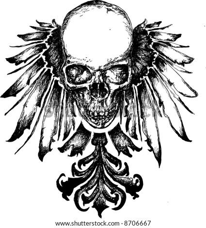 Vector skull grunge heraldry illustration - stock vector