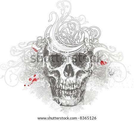 Vector skull grunge illustration - stock vector