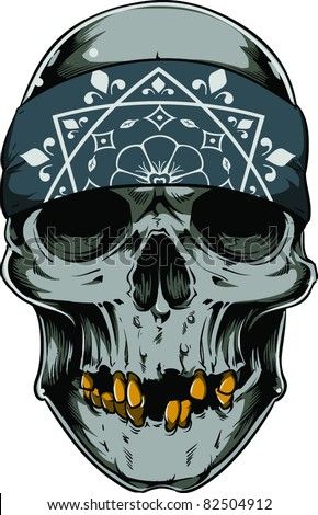 Vector skull illustration - stock vector
