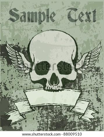 Vector skull  illustration - stock vector