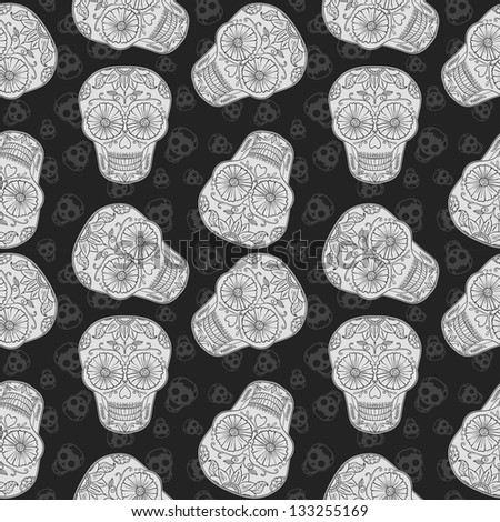 Vector Skull Seamless pattern. Mexican Background for Day of the Dead. Black and white brown paper. - stock vector