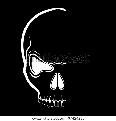 Vector skull tshirt design in shadow on the black background - stock vector