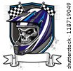 vector skull wearing trail helmet and banner - stock photo