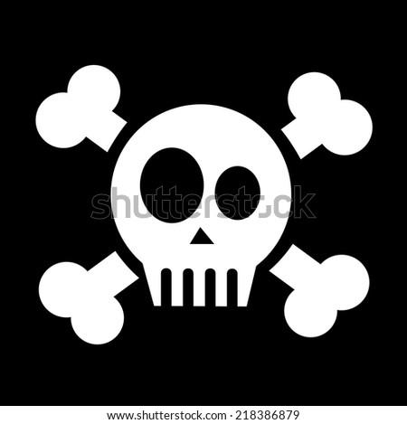 vector skull with crossed bones - stock vector
