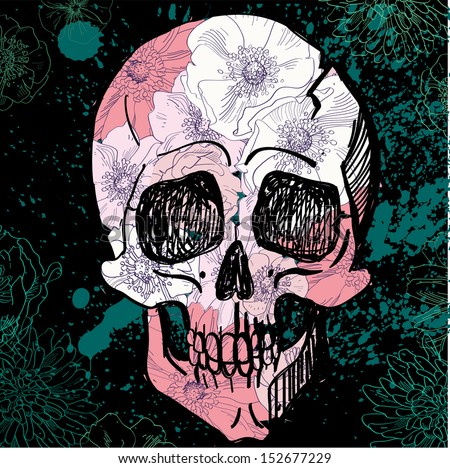 Vector skull with flower pattern on textured background - stock vector