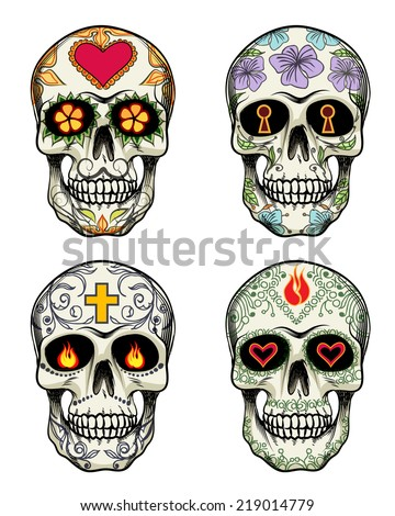 Vector Skulls with flowers for Day of the Dead - stock vector