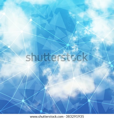 Vector Sky and Triangles Background. Futuristic Technology Background. Dots and Lines Connection. Clouds Background. - stock vector