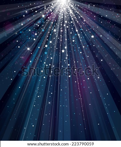Vector sky background with lights and stars.  - stock vector