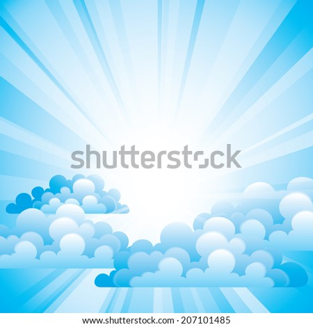 Vector sky with beautiful clouds and sun rays. Eps10