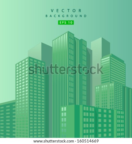 Vector skyscraper green background - stock vector