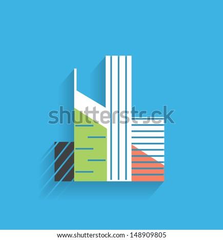 Vector skyscraper icon modern flat design - stock vector