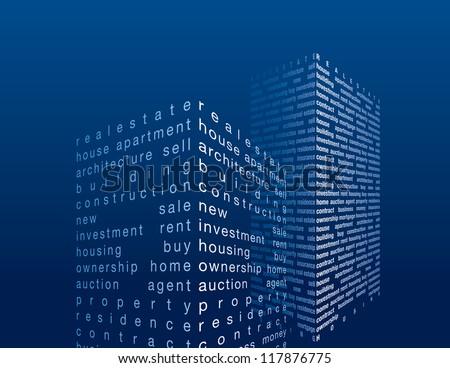 vector skyscrapers in word collage - stock vector