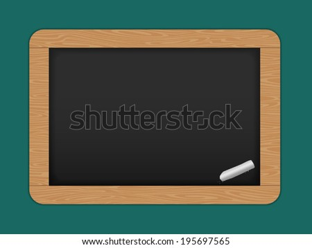 vector Slate. Chalkboard with wooden frame. Drawing. Back to school - stock vector