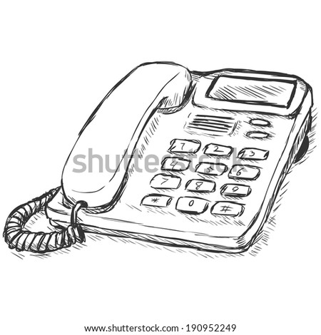 Vector Sletch Illustration - Office Phone - stock vector