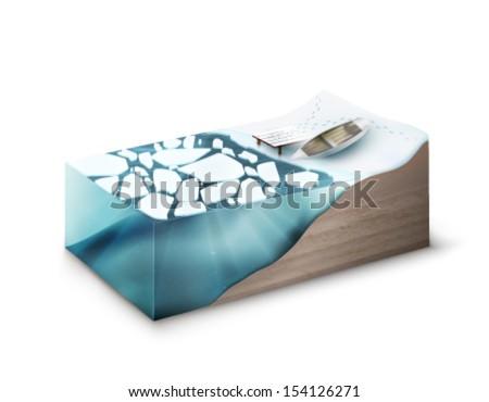vector slice of Earth - frozen river - stock vector
