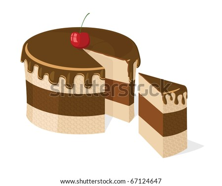 Vector sliced chocolate cake with delicious cherry for birthday, wedding, etc. - stock vector