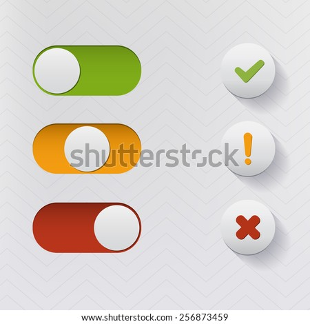 Vector Sliders and Buttons. Accept, Warning, Decline Buttons and Switches. - stock vector