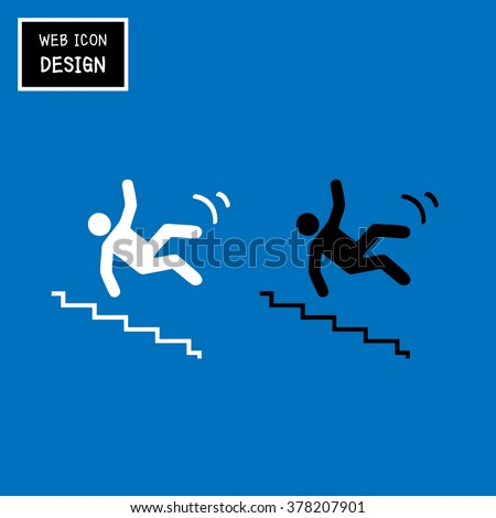 Vector Slippery stairs warning sign illustration isolated on blue background great for any use. - stock vector