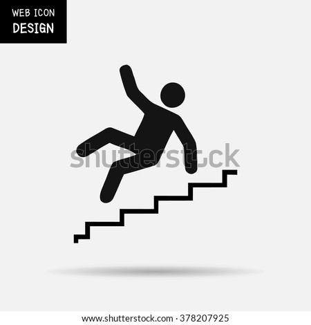 Vector Slippery stairs warning sign illustration isolated on white background great for any use. - stock vector