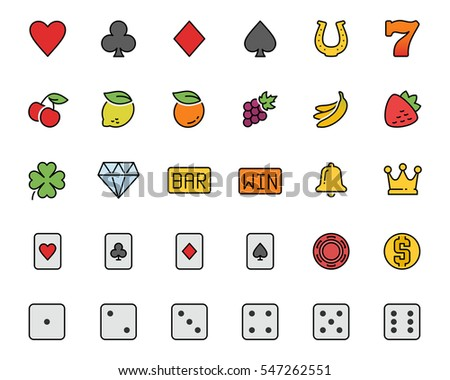Vector slot machine symbols and casino colorful icon set