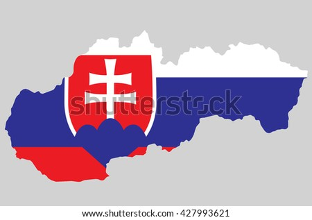 Vector Slovak Republic topographic map. Slovakia flag on borders of the country. Flat style design. Slovakia border contour. Original color flag. Vector graphic design element clip art illustration