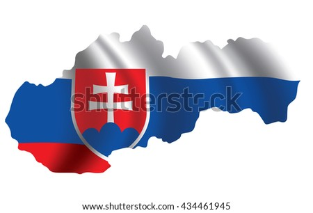 Vector Slovakia flag blowing in the wind in Slovakia map shape. Background texture.