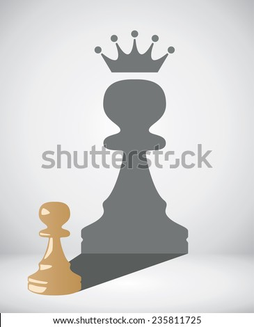 vector small chess pawn with the shadow of a big king - stock vector
