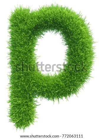 Vector small grass letter p on white background.