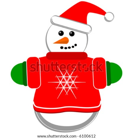 Vector small snowman with red sweater.