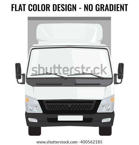 Vector small truck front view. Cargo delivery. Solid and Flat color  design. White truck car for transportation. Corporate identity. - stock vector
