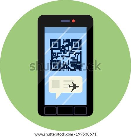 Vector Smart Phone and qr code  - stock vector