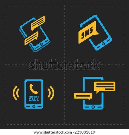 Vector smart phone icons on Black background - stock vector