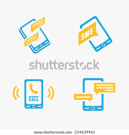 Vector smart phone icons on White - stock vector