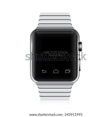 Vector smart watch on white background. - stock vector