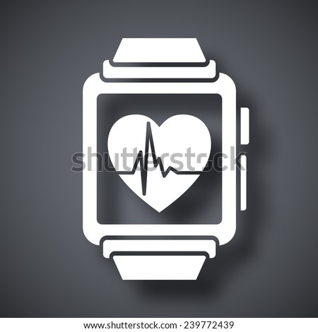 Vector smart watch with health app icon - stock vector