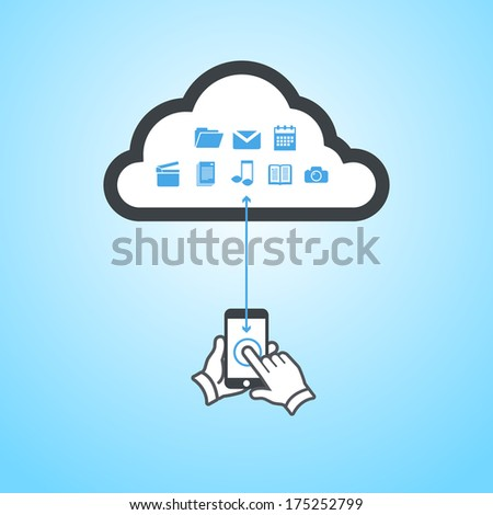 vector smartphone cloud computing scheme | flat design infographic on blue background