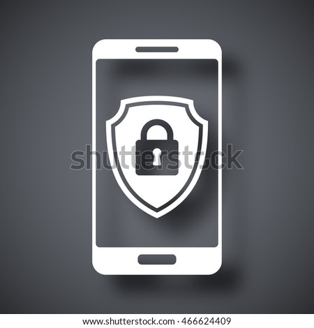 Vector Smartphone icon with a protective shield symbol on a screen