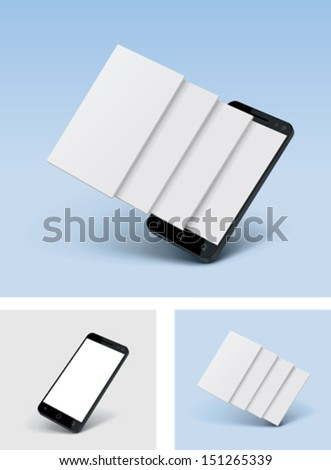 Vector smartphone icon with blank screens - stock vector