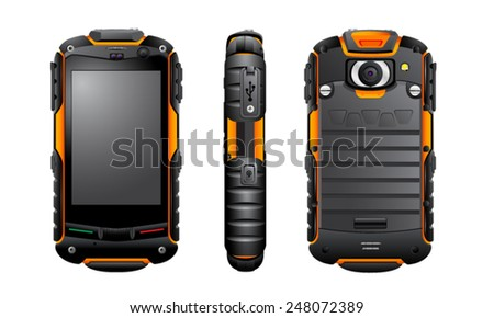 Vector smartphone, rugged IP67 waterproof, shockproof, dustproof, smartphone, mobile phone, communicator, vector, isolated - stock vector