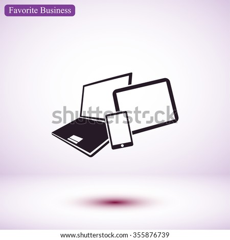 Vector smartphone, tablet and laptop icon . Vector  Eps 10
