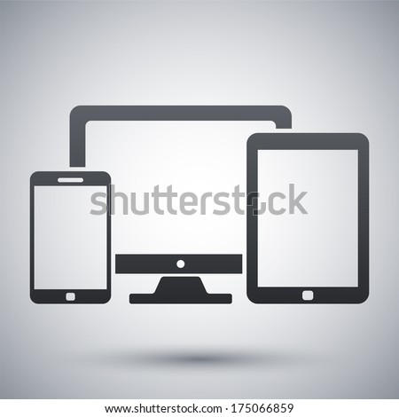 Vector smartphone, tablet and PC icon - stock vector