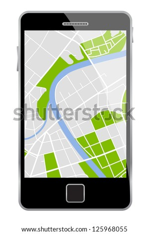 Vector smartphone with map isolated on a white background.